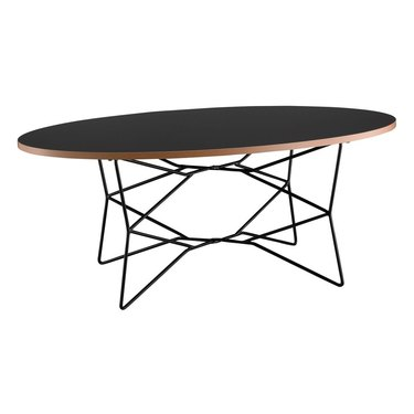 Black wood oval coffee table with wire legs