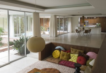 midcentury modern houston home recessed interior spaces