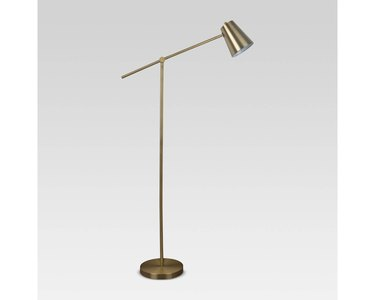Brass lever floor lamp