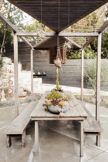 outdoor space with wooded pergola