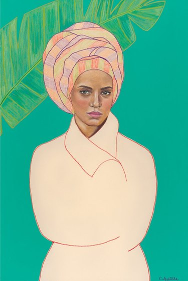 Art print featuring woman with colorful turban on turquoise background
