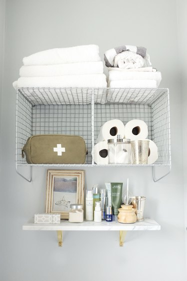 wire rack bathroom storage