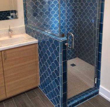 tile steam shower cerulean blue cove base tile