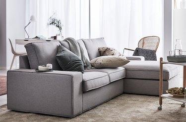 plush sofa with throw pillows