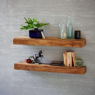 floated shelf wood west elm