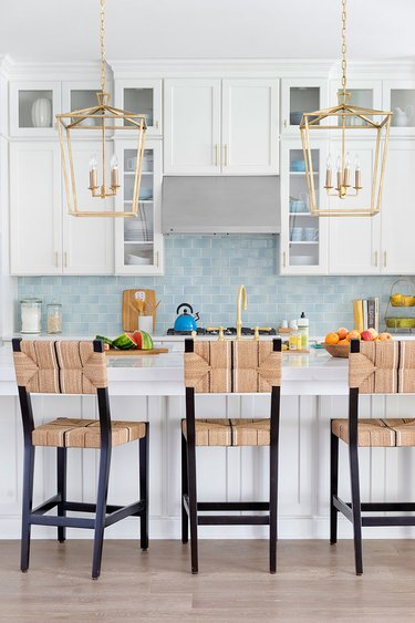 A colorful blue kitchen