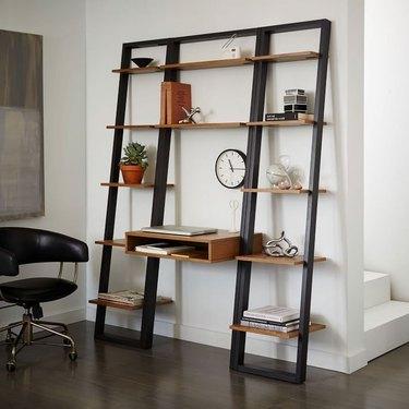 west elm modern small space decorating ideas ladder shelf desk