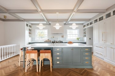 brass hardware in modern farmhouse with two tone cabinets