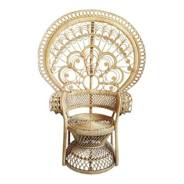 Chairish rattan peacock chair.