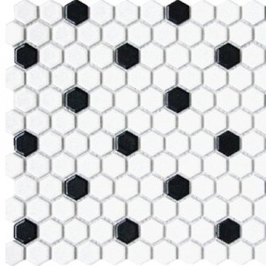Small white and black hexagonal tile, white-dominant
