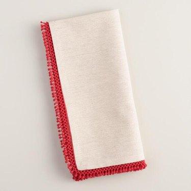 red trim napkins