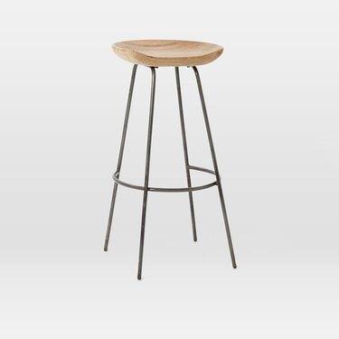 Backless wooden bar stool
