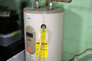 An electric water heater.