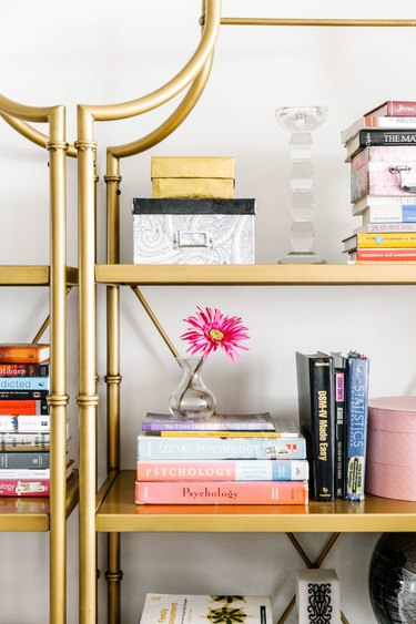 gold bookcase