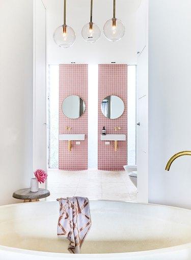 pink backsplash
