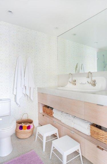 flat sleek drawer handles bathroom