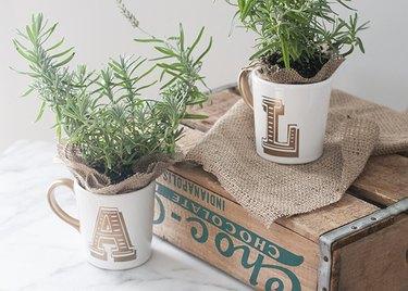 gold initial mugs