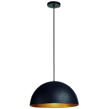 Matte black dome pendant light with gold interior