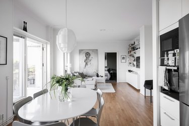scandinavian apartment alvhem monochrome color scheme open floor plan