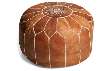 medium-brown leather moroccan pouf