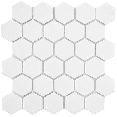 Hexagonal white tile