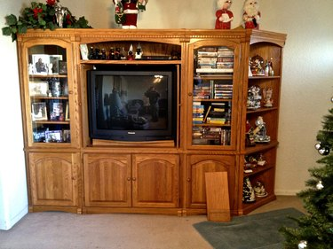 open shelving entertainment center