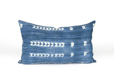 Blue mud cloth lumbar pillow