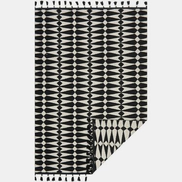 Black and ivory area rug