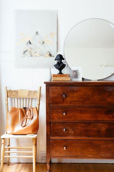 bedroom with vintage dresser