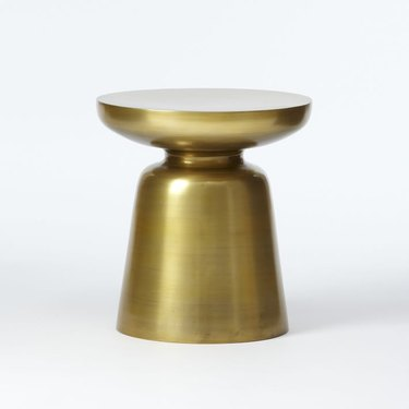 Modern round solid brass side table