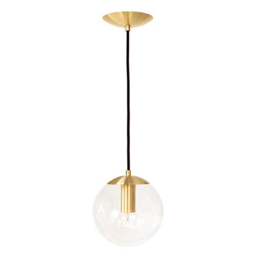 Gold and clear globe pendant light
