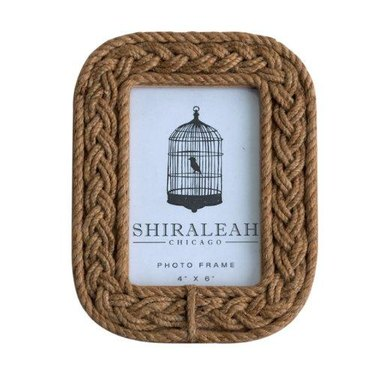 Braided rope picture frame