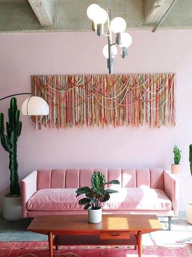 monochromatic pink room