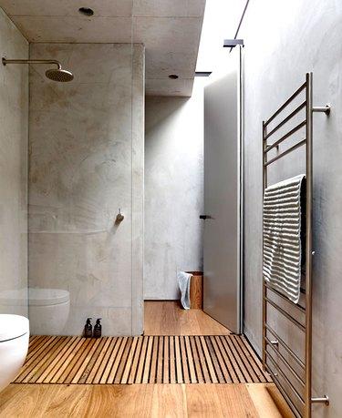 concrete and wood bathroom
