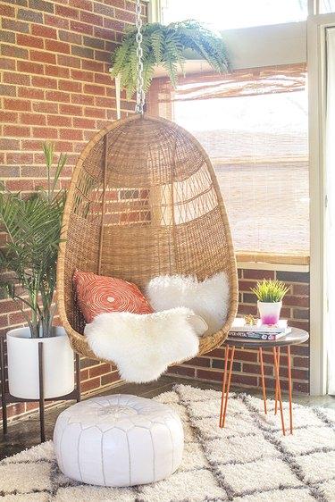 mid-century hanging basket chair