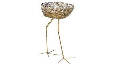 Basket side table with bird legs