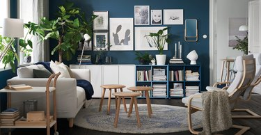 Room display of a wide variety of IKEA furniture products.