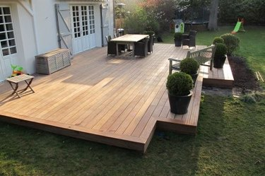 wood hardscape materials backyard with wooden deck