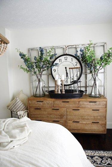 rustic dresser in bedroom