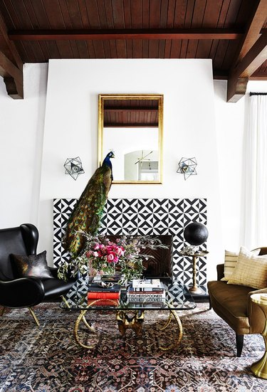black and white fireplace surround