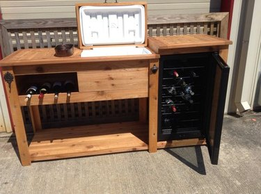 Cooler bar with mini fridge