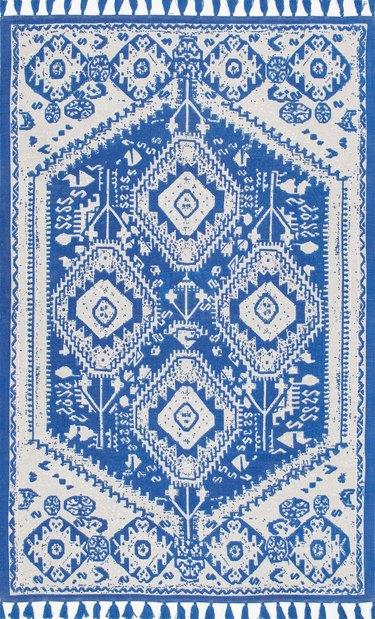 Blue and white kilim rug