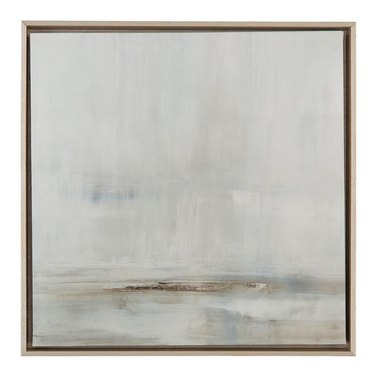 Abstract painting featuring soft grays