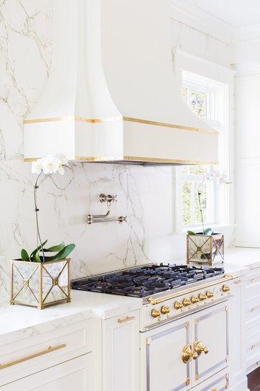 modern kitchen white appliances contrast metal fixtures