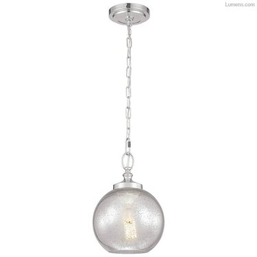 Silver chain bare bulb round pendant light