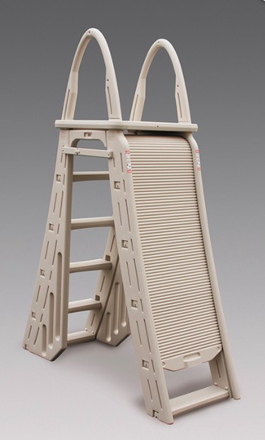 An A-frame ladder for above-ground swimming pools.