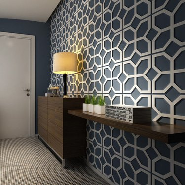 modern room white 3-D geometric wall panels stick-on overlay wainscoting effect Etsy