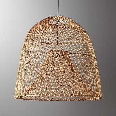 Finely woven bell-shaped pendant light