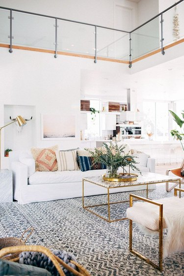 living room with throw pillows