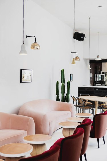 pink and red sofas